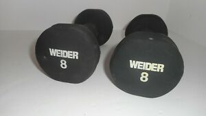 Pair of Weider 8 Lb Black Neoprene Rubber Dumbbell Weights   16 Lbs total Clean