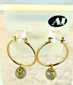 A&I Hoop With Dangle Charm Earrings, Gold Tone, Cream and Blue Bead Dangle