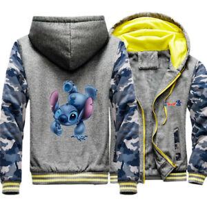 Men's Lilo And Stitch Warm Winter Fleece hoodie thicken jacket sweatershirts