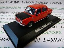 voiture 1/43 atlas NOREV voiture de mon père : SIMCA 1000 Rallye orange
