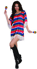 Mexican Fiesta Poncho Dress Ladies Costume Dress Wild West | BLUE & RED