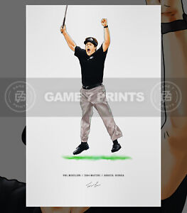 Phil Mickelson 2004 Masters Augusta Georgia Illustrated Print Poster Art