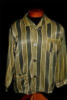 VINTAGE 1950-1960'S EUROPEAN GREEN & YELLOW SATIN RAYON PRINT PJ TOP SHIRT M-L