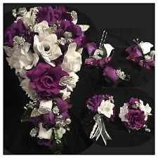 Wedding Flowers Purple White Silver Babies Breath Bridal Bouquet Package 21 pc
