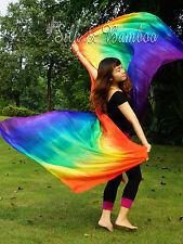 "Rainbow tie-dye 2.7m*1.1m(3yd*45"") 5mm light belly dance silk veil, rolled edges"