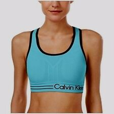 Calvin Klein Medium Impact Racerback Sports Bra Sea Blue/Black Size Xs