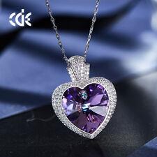 Halskette Herz Anhänger Collier mit SWAROVSKI Kristallen Silber 18K Weißgold pl