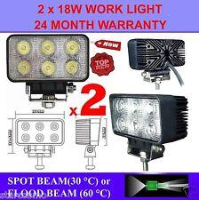 2x 18W 12V LED WORK LIGHT TRUCK TRAILER BOAT OFFROAD FLOOD BEAM LAMP 4WD SUV CAR