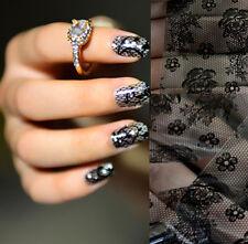Black Lace Flower Classic Nail Art Transfer Foil Sticker Toenails Tips Decor