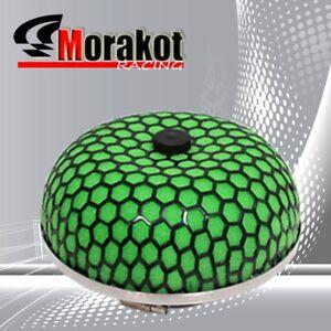 """Jdm 3"""" 76MM Mushroom Turbo/Cold/Short Ram Air Intake Mesh Filter Black/Green"""