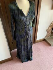 Rabens Ladies Long Silky Dress Lovely Blue And Greens Colour Hangs Loose Size L
