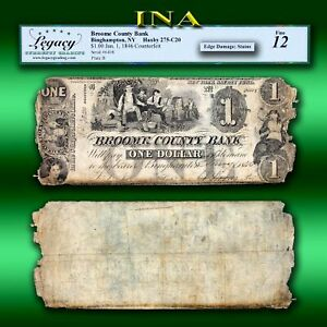 New York Binghampton Broome County Bank $1 Counterfeit LEGACY Fine 12 Super Rare