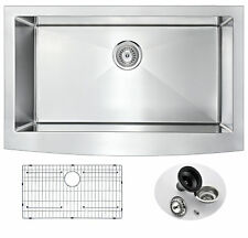 "Farmhouse Stainless Steel 36"" Single Bowl Kitchen Sink in Brushed Satin"