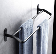 Bath Black bathroom double towel rack space aluminum towel bar European 50cm
