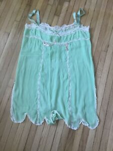 VINTAGE Green Chiffon Lace Flapper 1920s Lingerie Nightgown Antique 20s