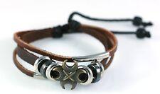 Fashion Hemp Leather Bracelet Tibet Braided Bead Alloy Wristband Unisex Cool NEW