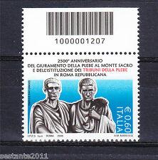 ITALIA 2008 TRIBUNO DELLA PLEBE CODICE A BARRE 1207 MNH ** A67, LEGGI PROMOZIONE