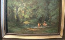 Bathing Girls Signed Dejev Platon 1930 Estate Antique Art Oil Painting