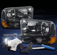 1999-2004 FORD F250 F350 SUPER DUTY SMOKE HEAD LIGHT LAMP W/BLUE DRL LED+HID KIT