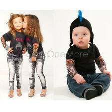 Nylon Kid Temporary Tattoo Sleeves Arm Stockings Goth Punk Cool Child Pack of 2