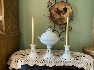 Westmoreland milk glass Doric Open Lace compote W/lid and matching candle sticks