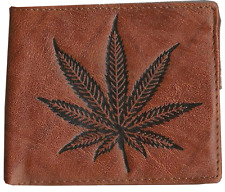 Wallet Bi-fold Leather Pot Leaf  Cannabis Weed Marijuana Ship for USA, POT-W