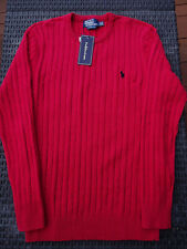 Pull RALPH LAUREN torsadé rouge, Taille L, 100% Neuf ! Small Pony Homme