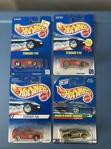 Hot Wheels. 4 cars. Ferrari F40. Blue Card #69 & other F40s in BPs