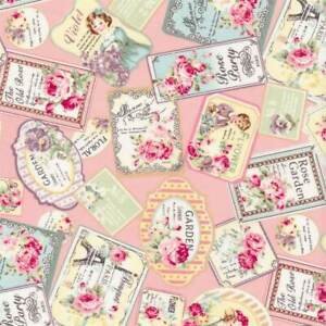 Quilt Gate Rose Garden Stamps/Labels Pink Cotton Fabric RU2410-13B BTY