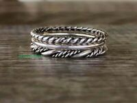 Silver Rope Ring Twisted Rope Ring 925 Sterling Silver Wire Band Jewelry GJ7178