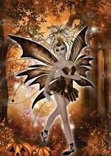 Autumn Fairy Birthday Card for women and girls stunning in gold & brown