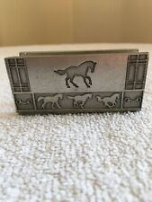 Busniess Card Holder With Horses,  Pewter by Bits and Pieces, NEW