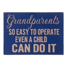 Blue Wooden Grandparents Word Block – Plaque Comical Gift Heaven Sends Rustic