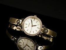 NEW FOSSIL GOLD TONE,CRYSTALS PAVE,STAINLESS STEEL BANGLE BAND WATCH BQ3164