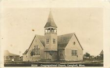 Campbell Minnesota~Congregational Church~Bell in Tower~Sepia RPPC 1915
