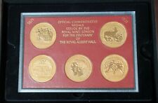 More details for 1971 the royal albert hall set of 5 x .925 silver/gold guilded coin/medals + box
