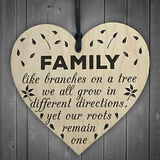 Family Roots Remain One Wooden Hanging Heart Shaped Families Plaque Love Gift