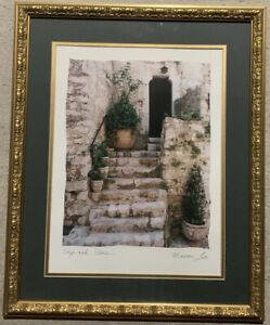 "Maureen Love Original Art Print ""Steps and Stones"" Matted Framed 19' x 23'"