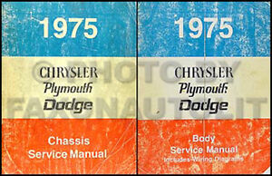 1975 Chrysler Plymouth Shop Manual Cordoba New Yorker Newport Imperial Service