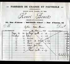 """BOURGES (18) USINE / FABRIQUE de CHAISES FAUTEUILS """"RIFFE / Henri BOUET"""" en 1929"""
