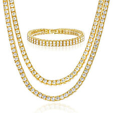 """Men's Icy 20"""" 22"""" Double Gold Plated Tennis Chain Necklace 2 Row Bracelet Set G"""