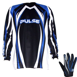 PULSE TSUNAMI BLUE MOTOCROSS MX ENDURO BMX MTB JERSEY WITH MATCHING GLOVES