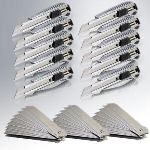 10 Profi Aluminium Cuttermesser Teppich 18mm inkl. 30 Ersatz Abbrechklingen