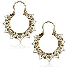 PAIR BRASS TRIBAL ORNATE HEARTS EARRINGS PLUGS GAUGES HANGERS EAR 18g (1MM)