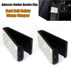 2PCS Bling Diamond Style Car SUV Seat Belt Clip Safety Clamp Adjustment Buckle
