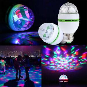 3X RGB LED Light Bulb 3W E27 Crystal Ball Auto Rotating Disco Party Stage Lamp