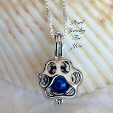 Paw Print Dog Cat Silver Pearl Cage Pendant Necklace Wish Akoya Oyster