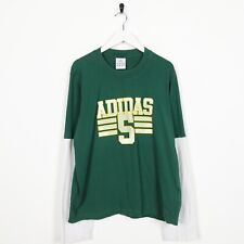 Vintage ADIDAS Big Logo Long Sleeve T Shirt Tee Green Large L