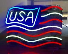 LED NEON Light US Country Flag Patriot USA Map America Lamp Car Poster Sign