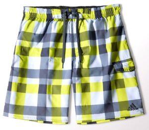 Adidas Plaid Check Shorts Mens Swim Shorts Bermuda Checkered Plaid Yellow S